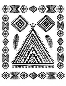 Coloring page native american abstract symbols and feather