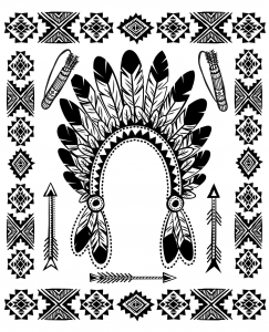 Coloring page native american indian chief headdress