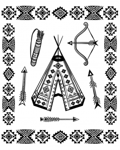 Coloring page native american tipi and symbols