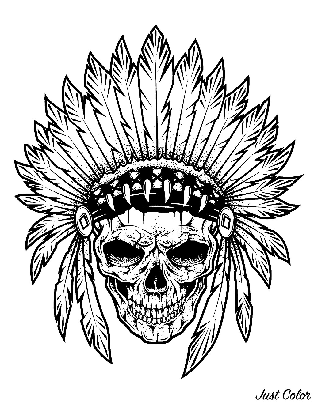 Indian chief skull, perfect for a tattoo