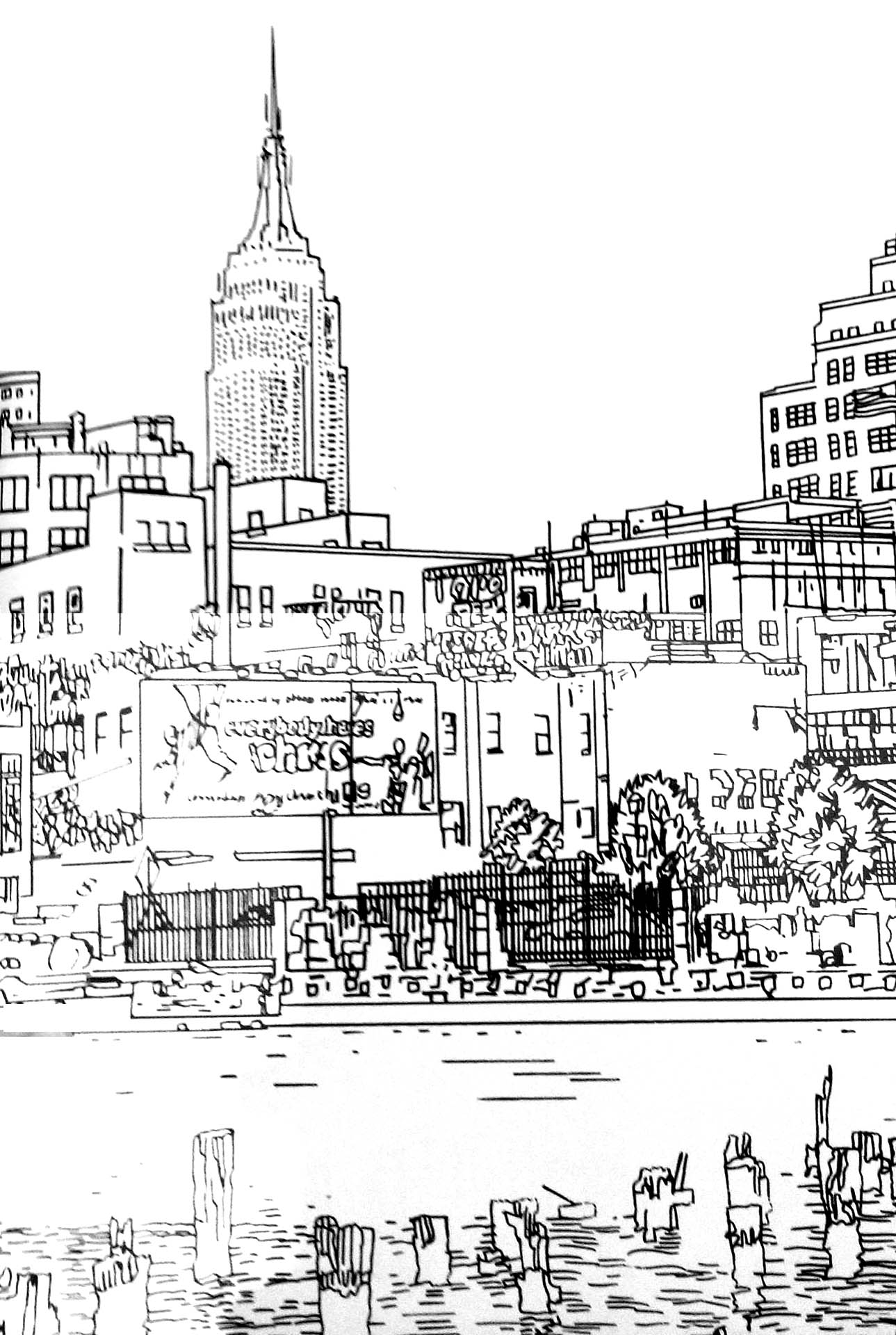 Nice drawing of New York: many details to fill with the colors of your choice