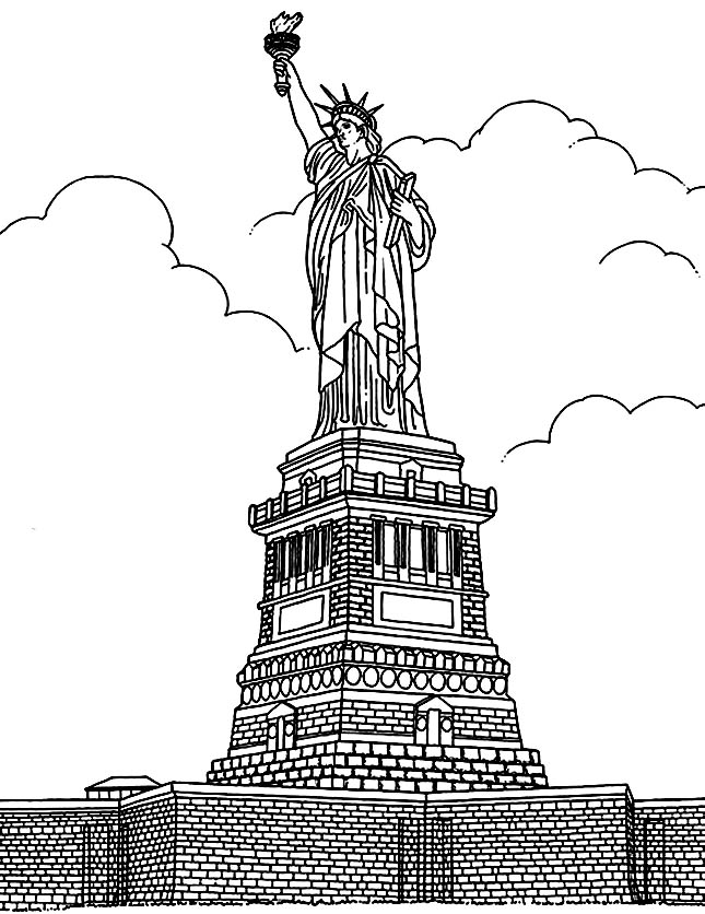 Coloring adult new york statue liberte