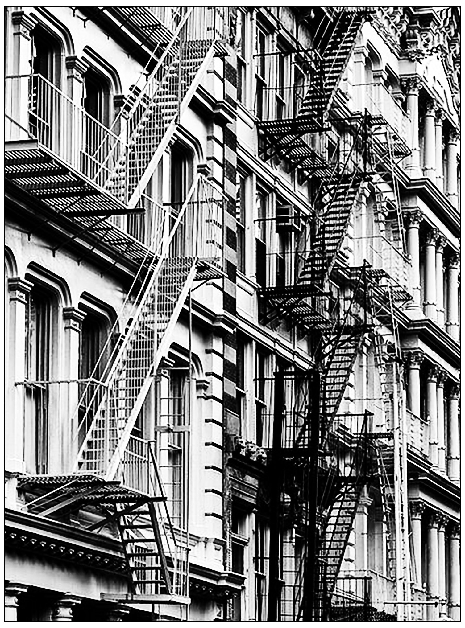 Coloring adult typical new york stairs in china town