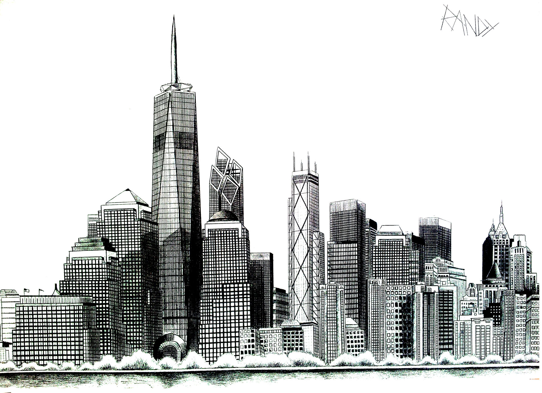 Drawing of the tip of Manhattan with Liberty Tower, New Tower built at the World Trade Center : A coloring page full of emotions