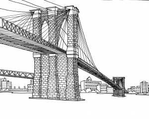 Coloring adult new york pont brooklyn