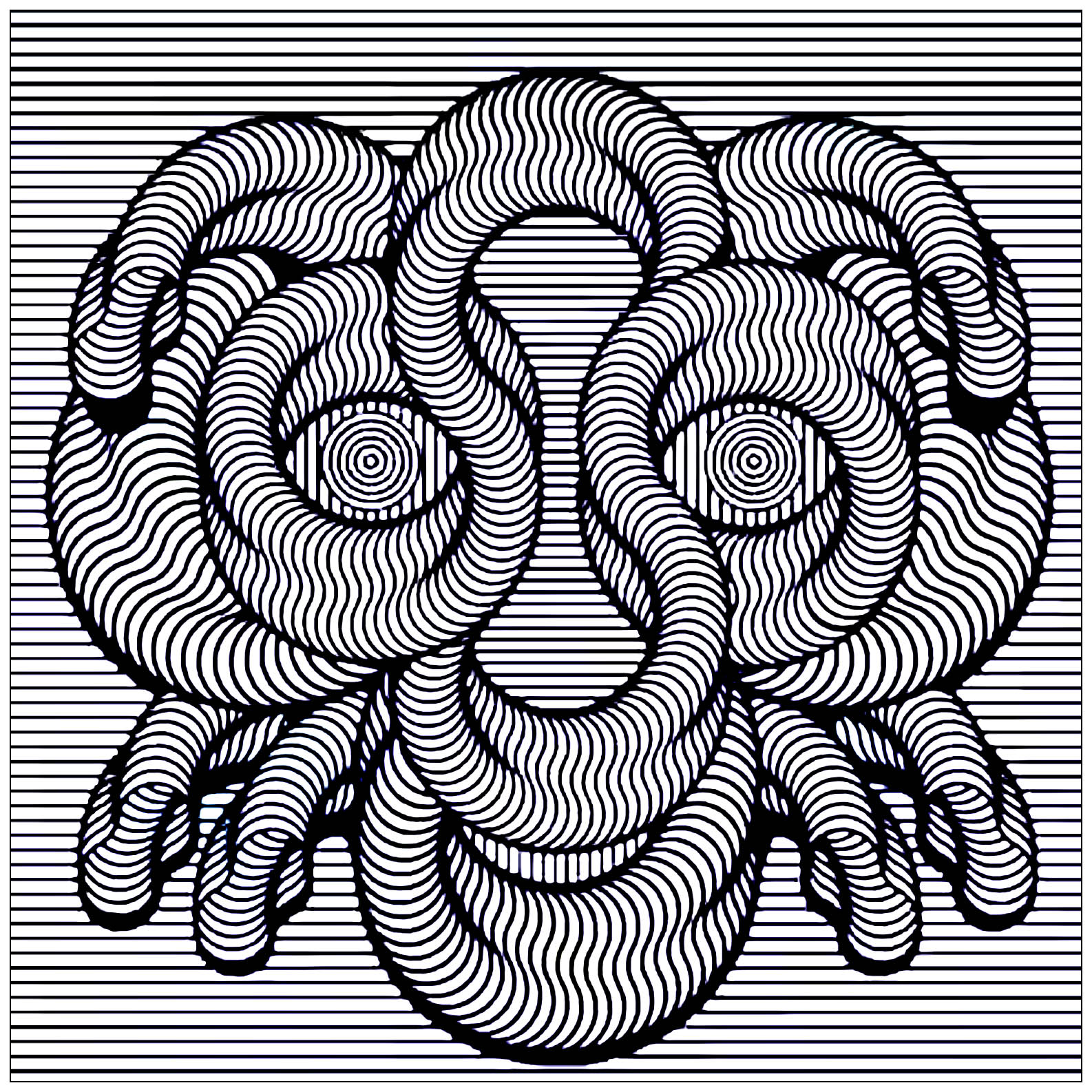 Hypnotic face - Optical Illusions (Op Art) Adult Coloring Pages