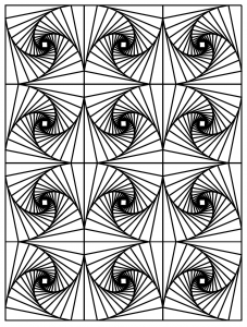 Coloring op art illusion optique 3