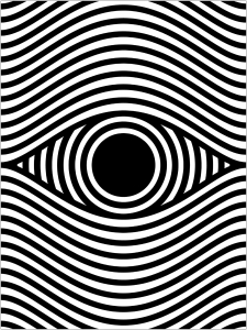 Coloring page op art eye portrait format
