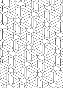 Coloring page op art relief illusion