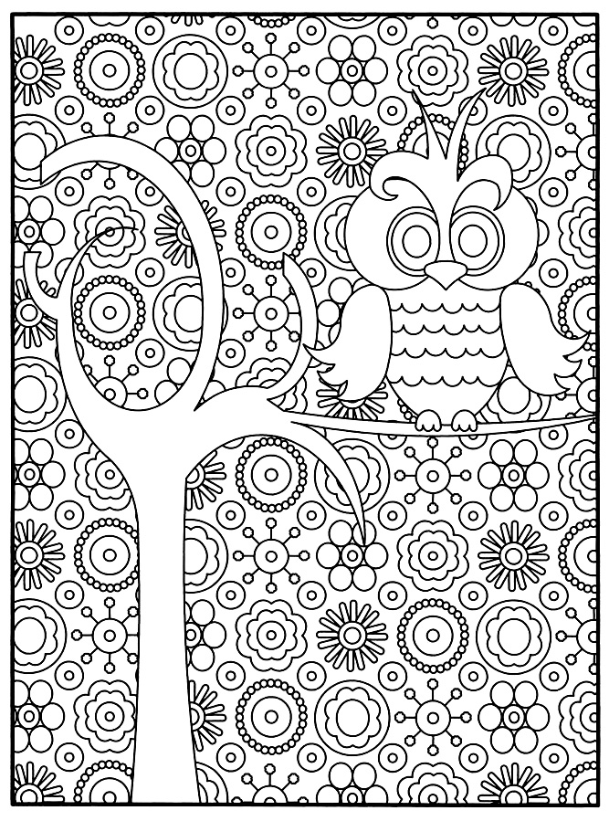 A small owl style very 'cartoon' perched on a tree branch with a lot of flowers in the background: Adult Coloring with great detail, and can even be performed by patients and children love coloring many areas