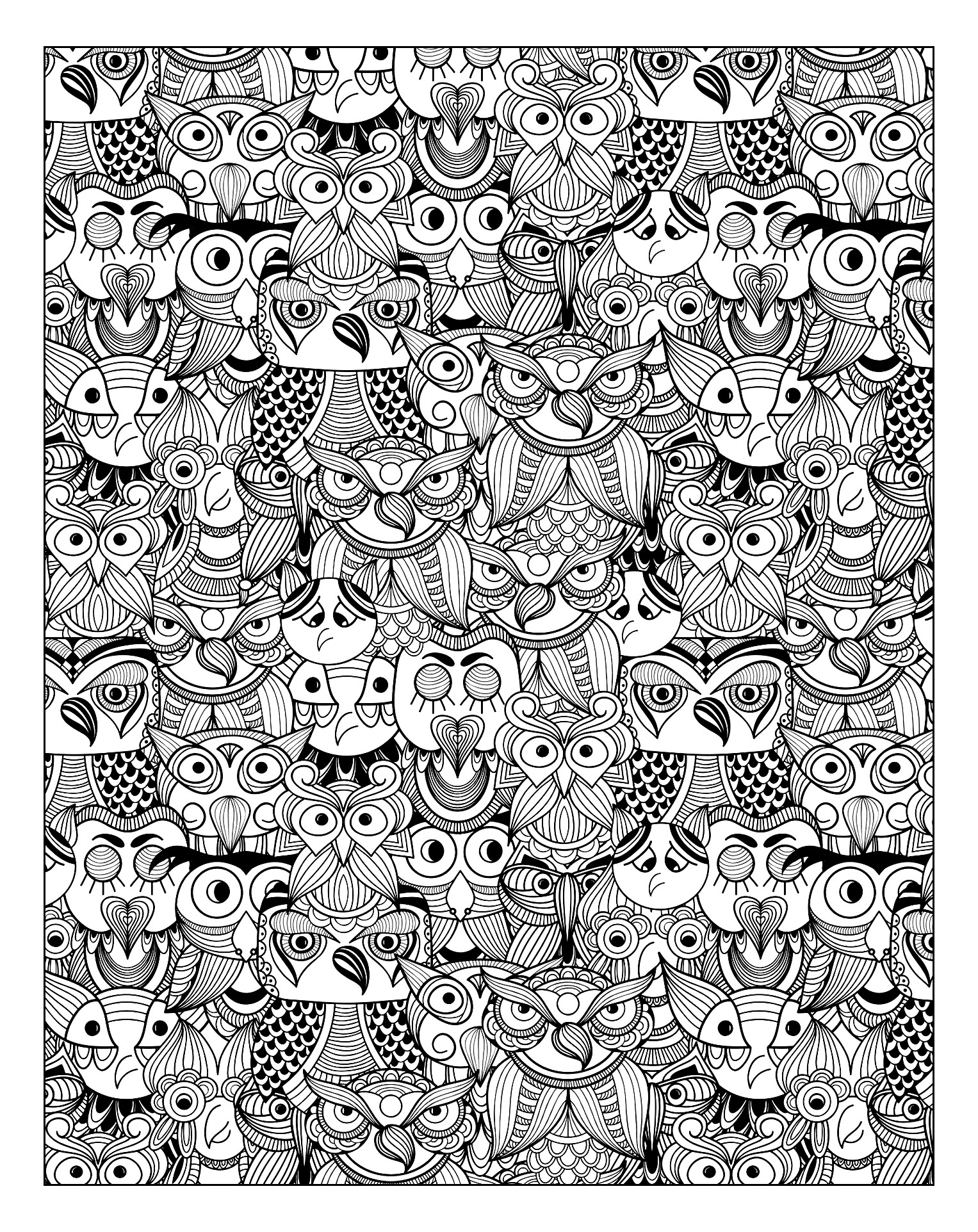 Many owls in this coloring page