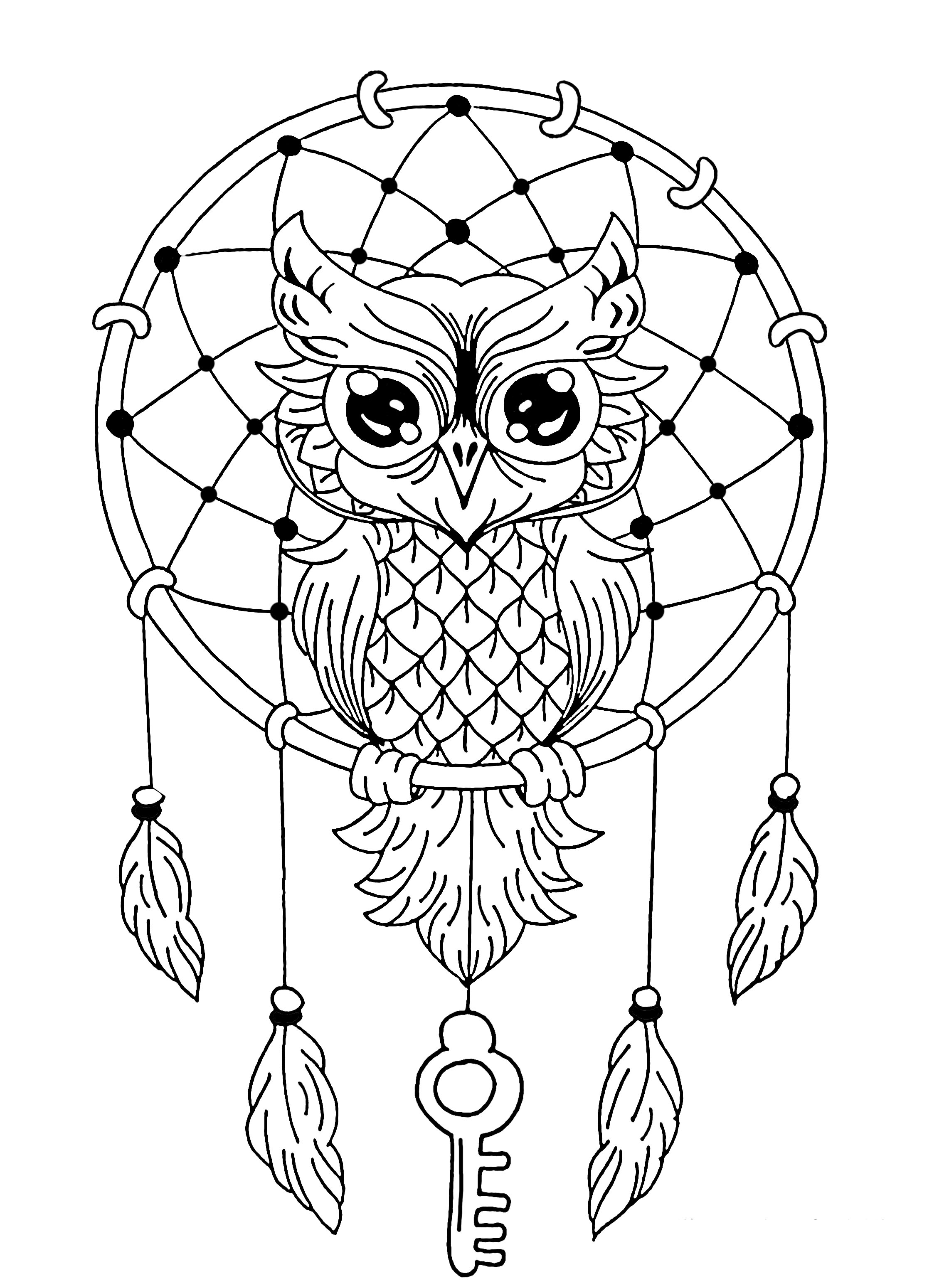 Owl dreamcatcher - Owls Adult Coloring Pages