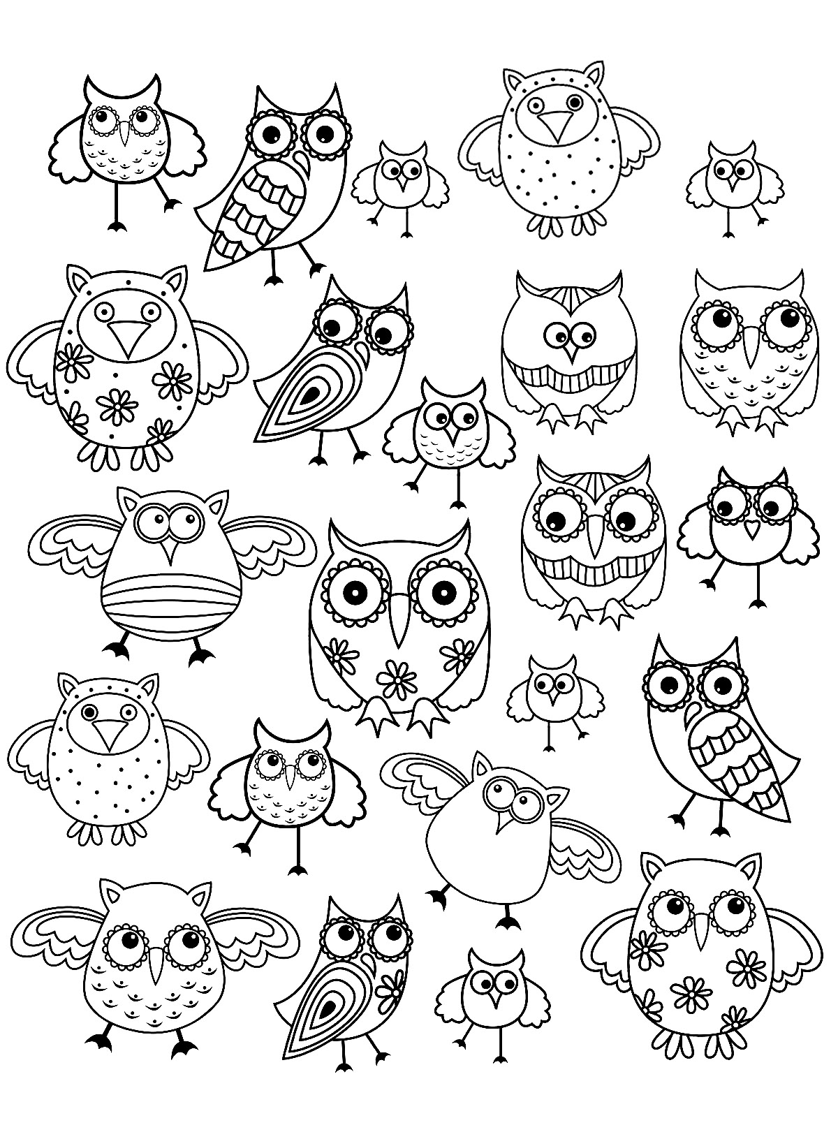 Owls - Coloring pages for adults
