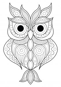 Coloring owl simple patterns 2
