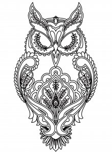 Coloring adult difficult owl