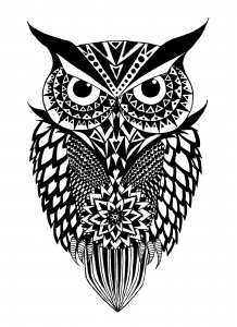 Coloring black and white owl