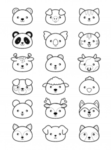 Coloring kawaii animals