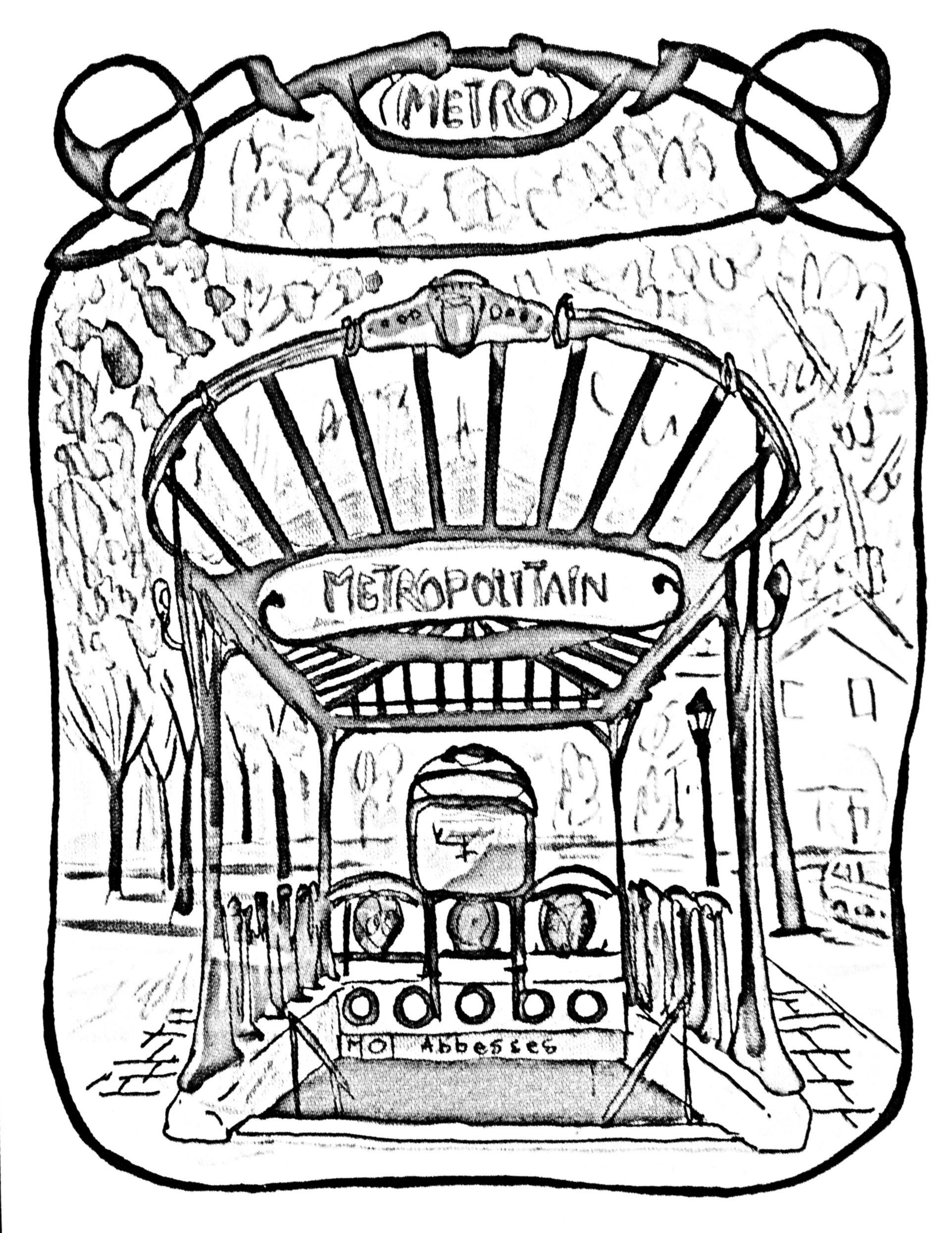Drawing to color of an entrance gate to Paris Subway ('Metropolitain')