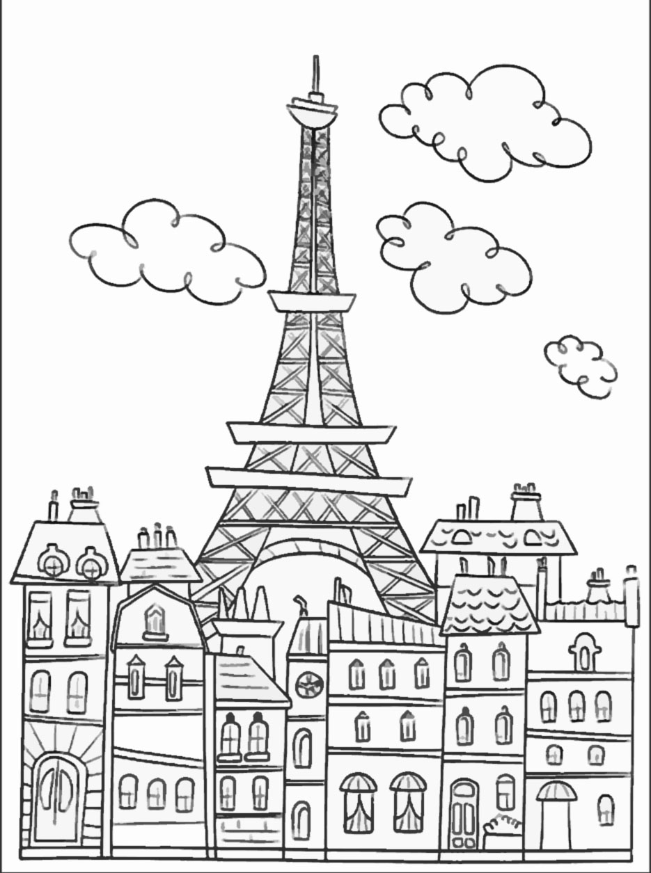 Paris buildings and eiffel tower Paris Adult Coloring Pages