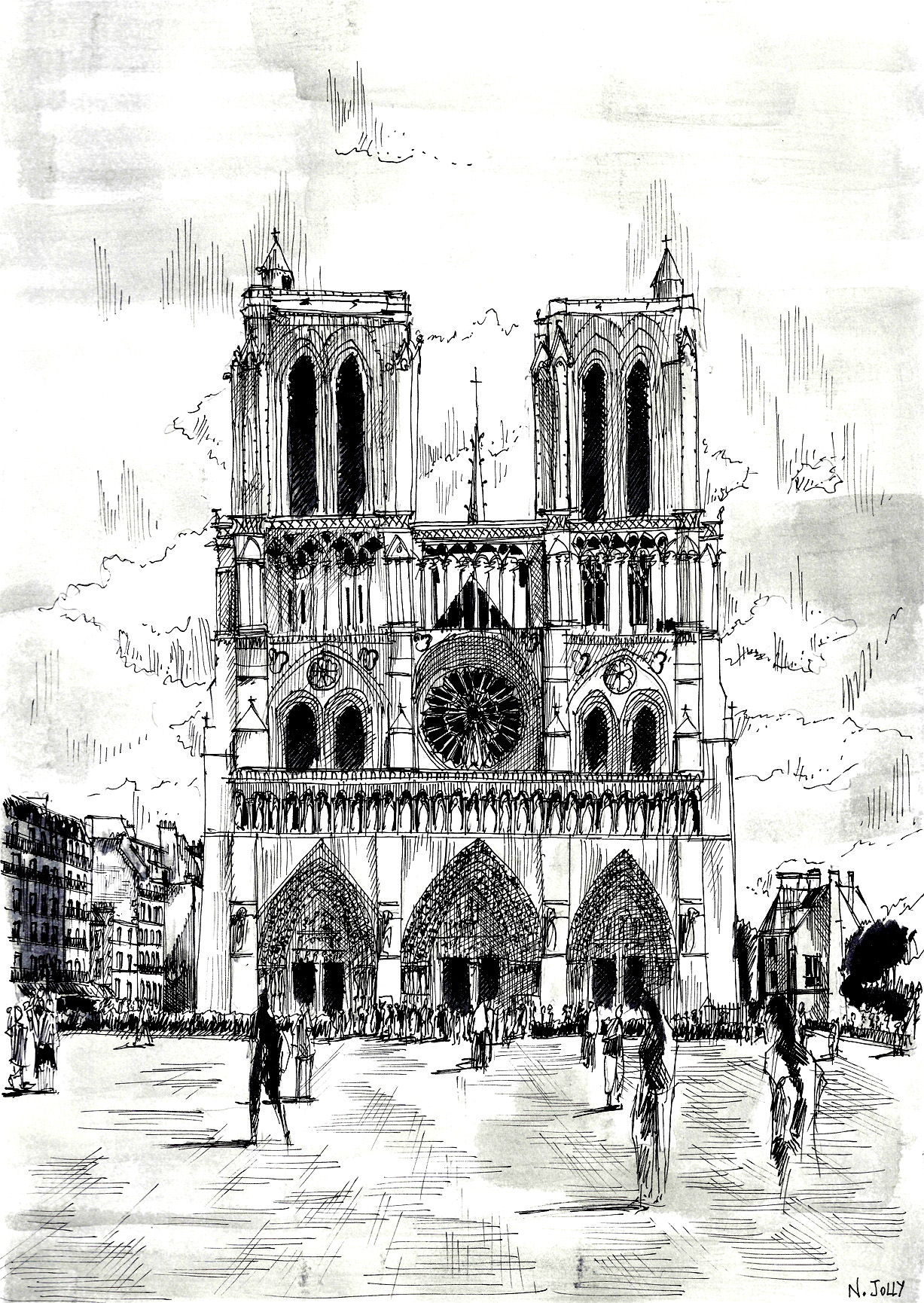 Beautiful drawing page of Notre Dame de Paris, color it detail by detail, or even paint it !