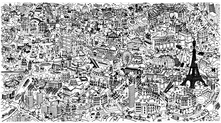 An impressive fresco of Paris and the monuments ... do you know them all?