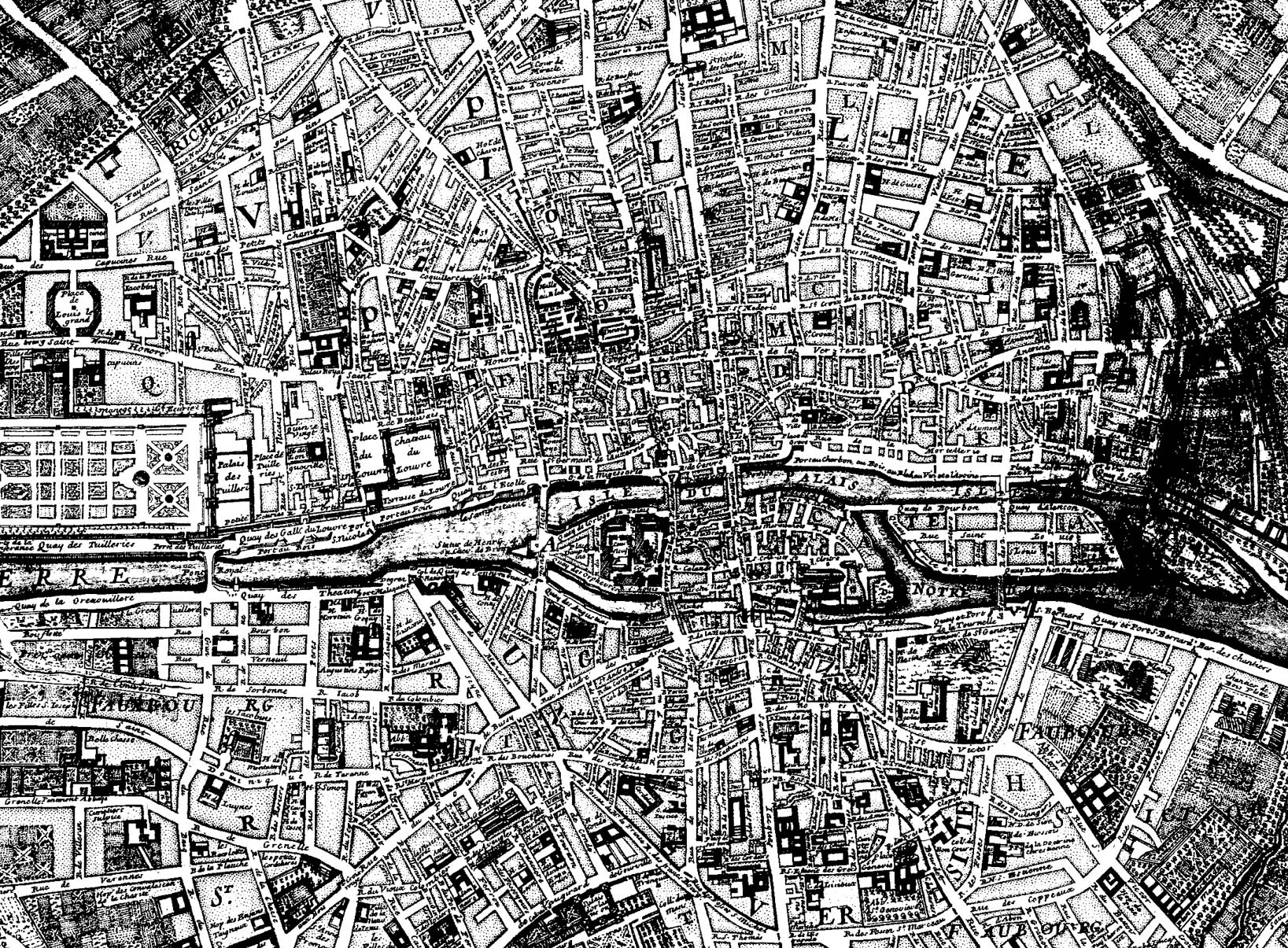 A map of Paris from 1750, with clearly defined streets, and a lot of details