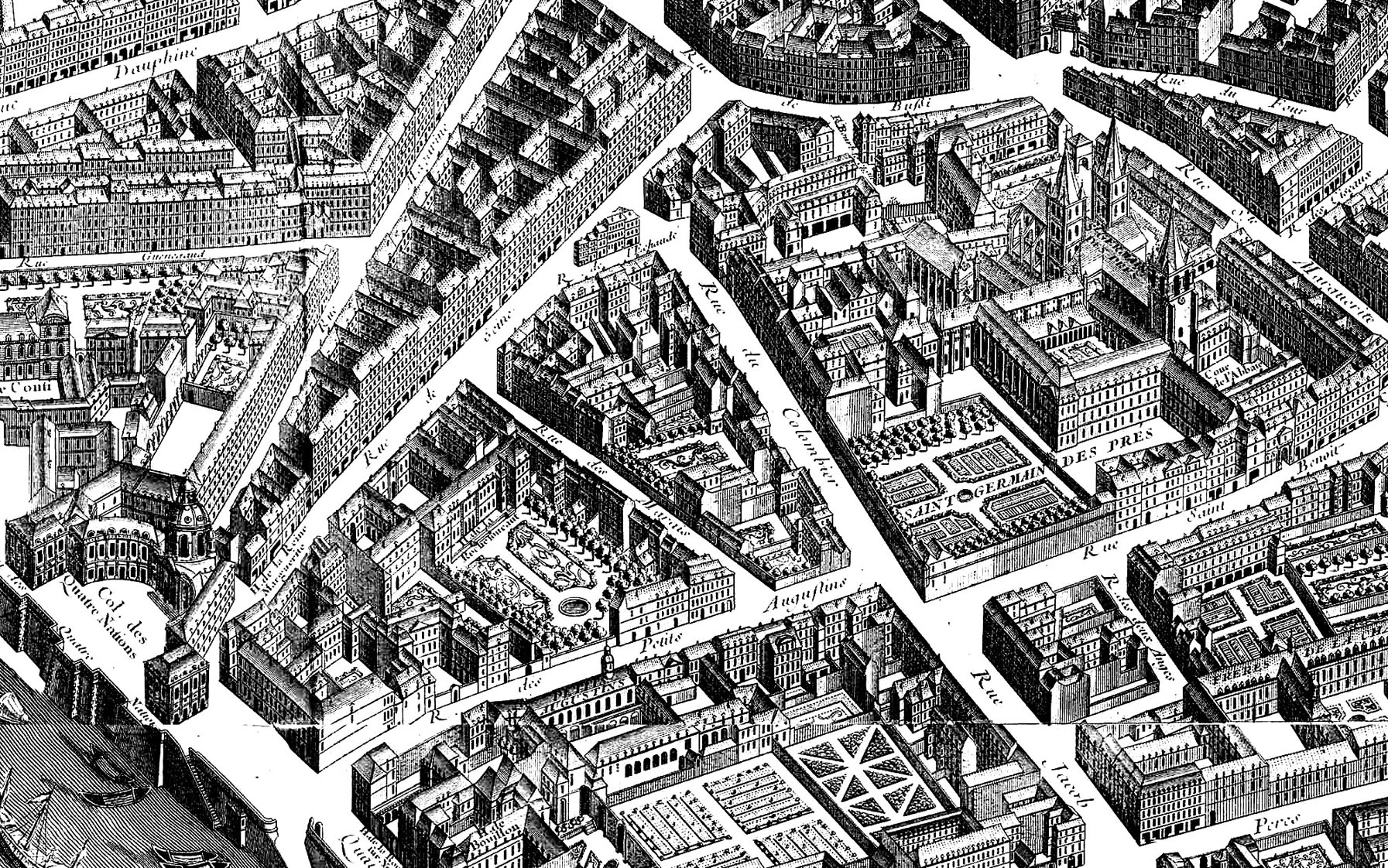 free coloring page coloring map paris neighborhood 1739 difficult coloring page
