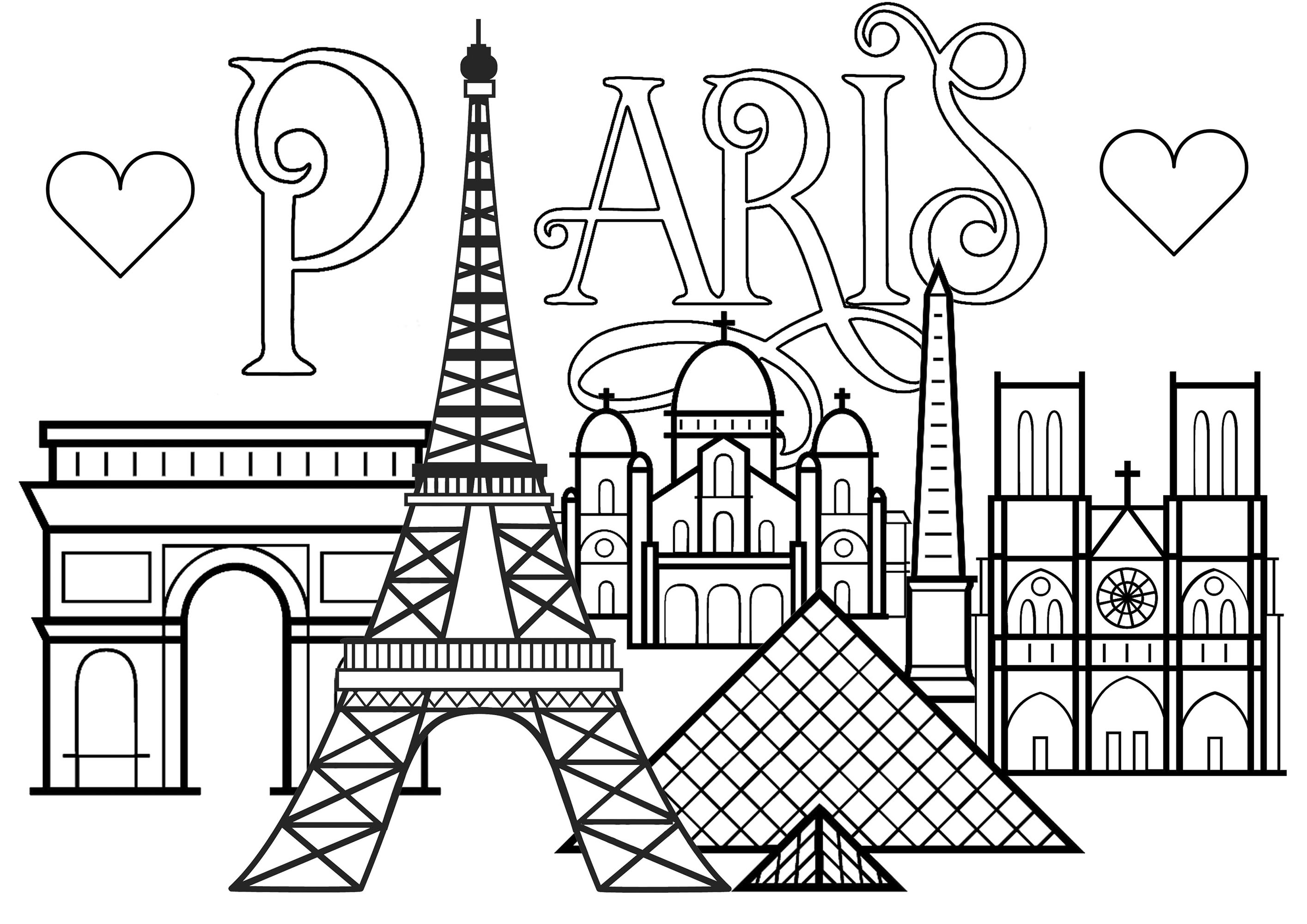 Text 'Paris' with hearts, and monuments of Paris: Eiffel Tower, Arc de Triomphe, Notre-Dame Cathedral, Louvre Pyramid and Basilica of the Sacred Heart