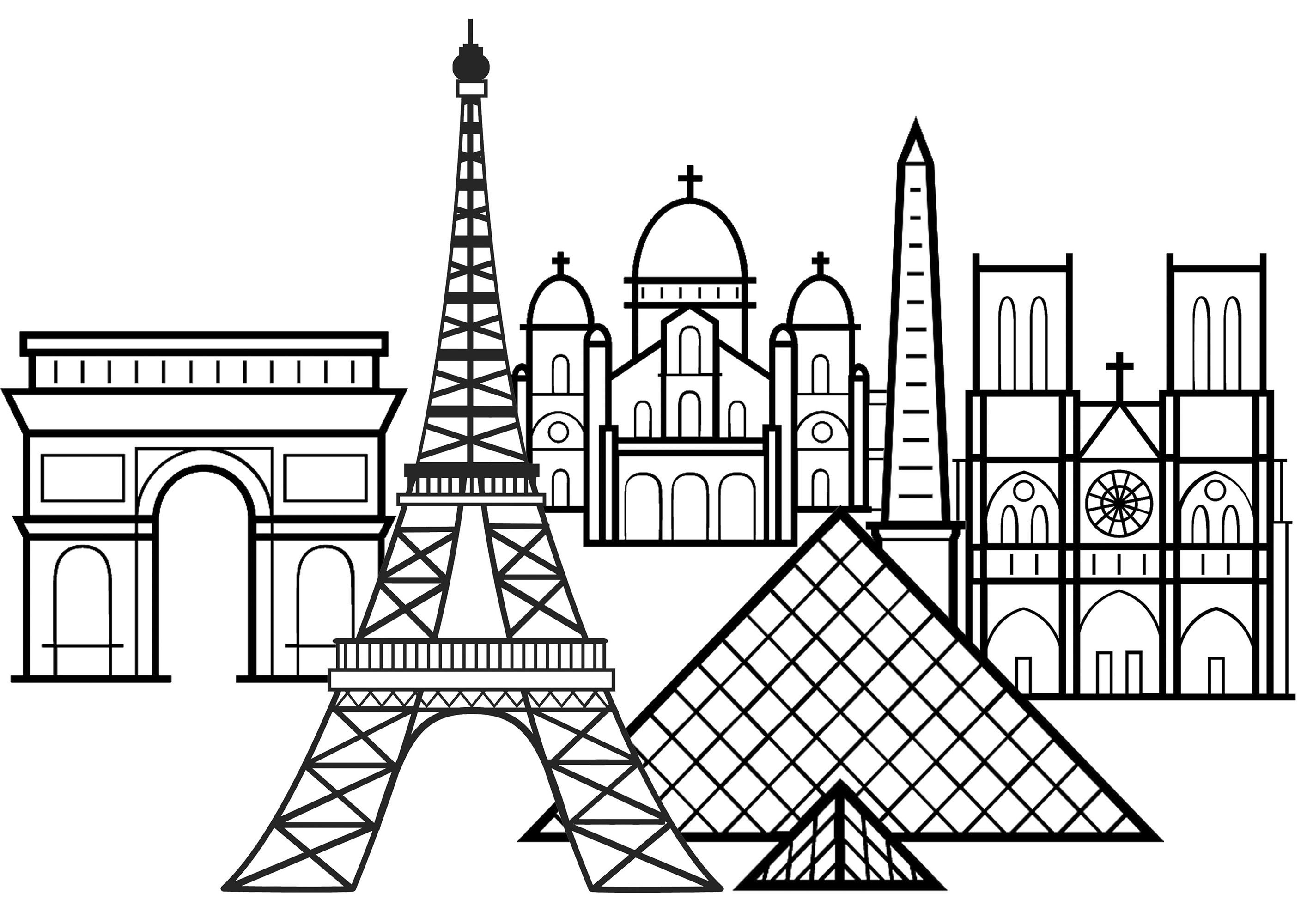 Famous monuments of Paris: Eiffel Tower, Arc de Triomphe, Notre-Dame Cathedral, Louvre Pyramid and Basilica of the Sacred Heart