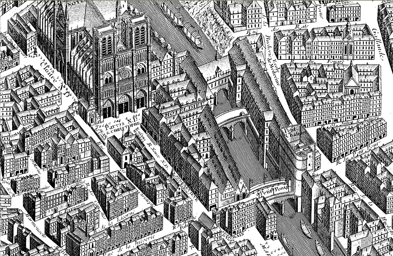 Old bird-view representation of the neighborhood of Notre Dame, on the Ile de la Cité in Paris, alleys and buildings designed in a very careful style, for a coloring page that will be very interesting to realize