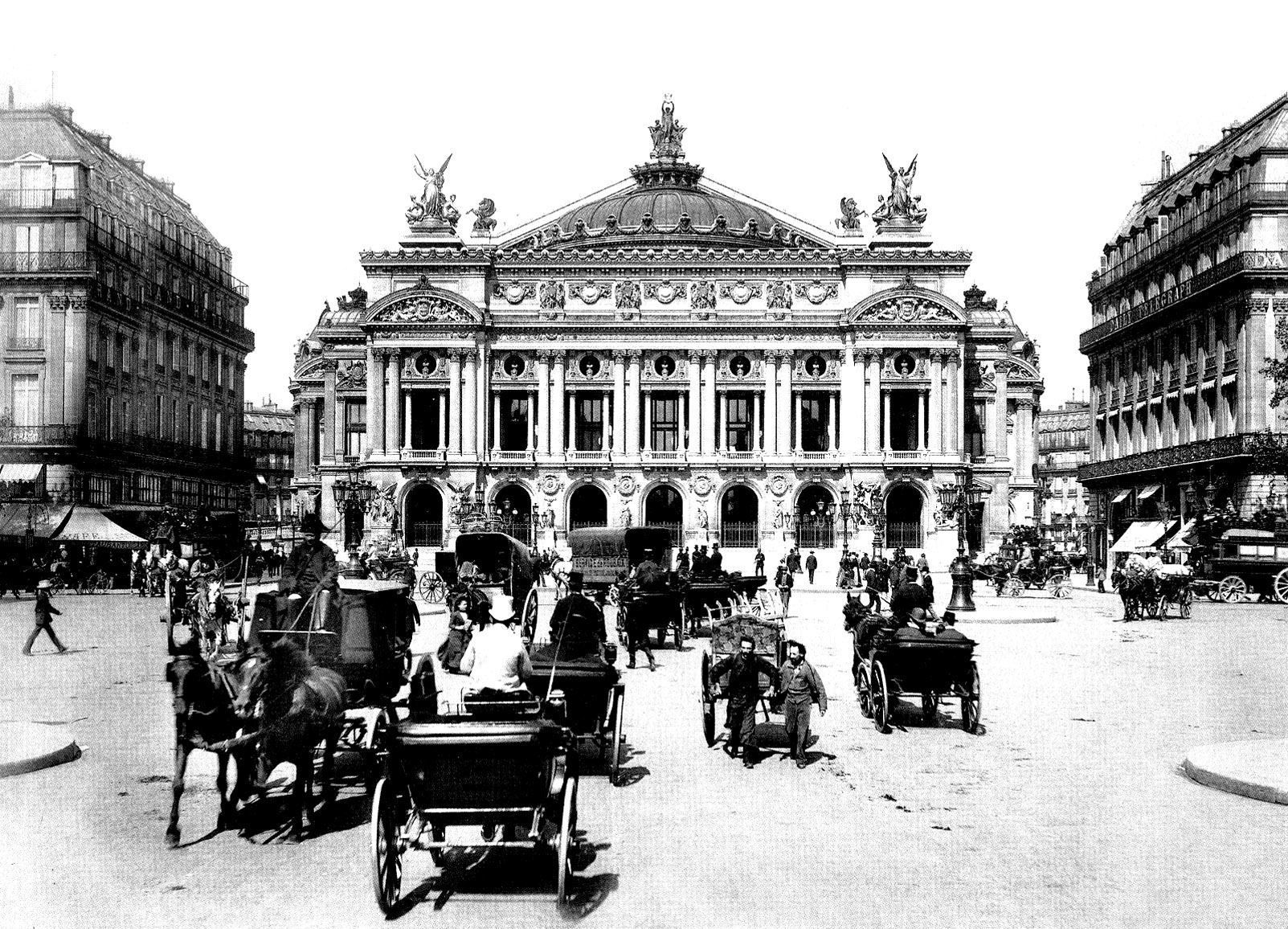 Photo of 19th century showing Paris Opera with carriages of this period ! A coloring page for a dive in the Past