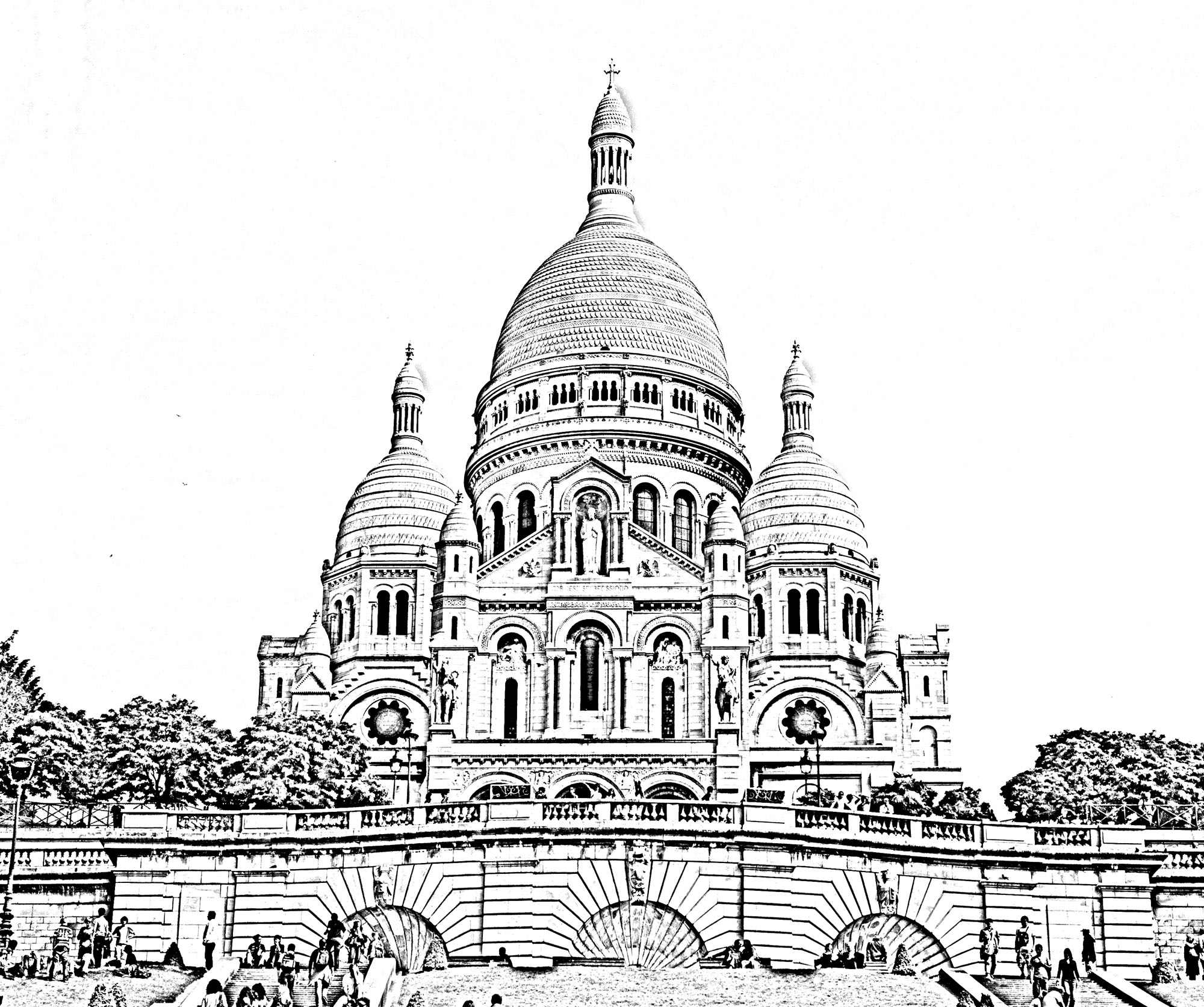 The Basilica of the Sacred Heart in Paris, transformed into a beautiful coloring page
