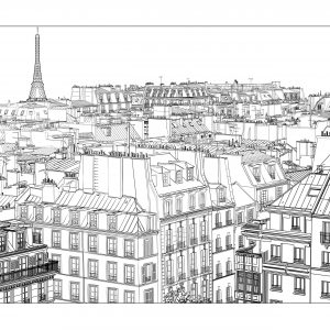 coloring page adults paris free to print