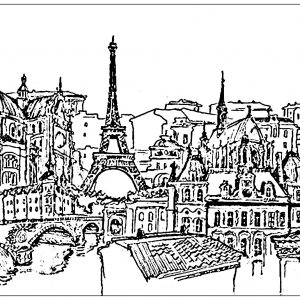 Eiffel-tower Coloring pages - Coloring pages for adults | JustColor