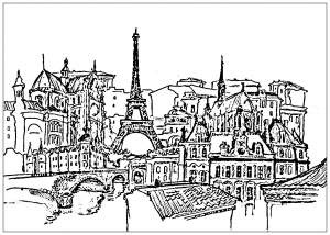 coloring-page-france-paris-eiffel-tower-and-buildings