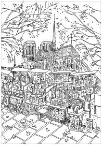 Coloring page notre dame de paris bookstore