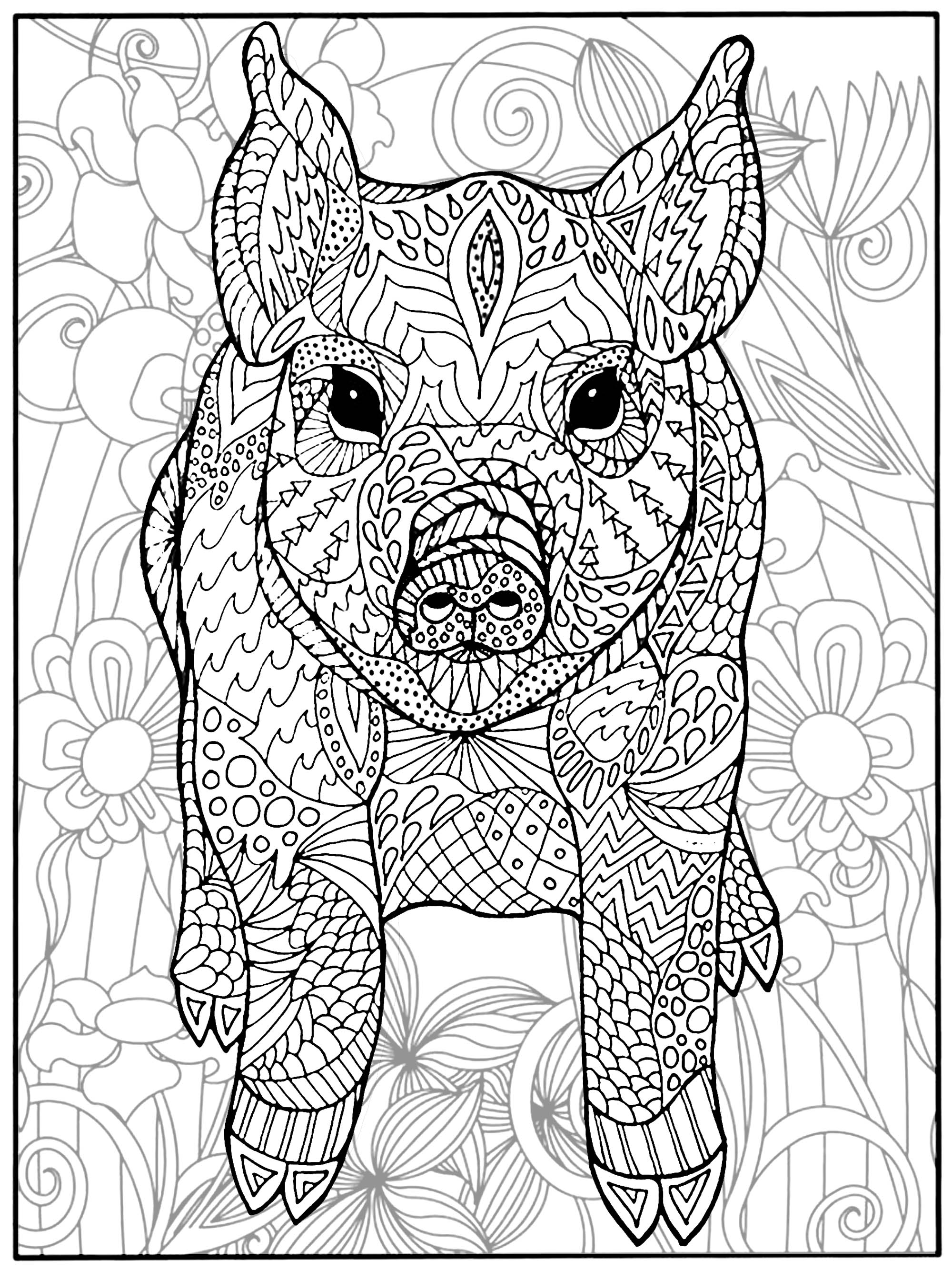 Pig and flowers - Pigs Adult Coloring Pages