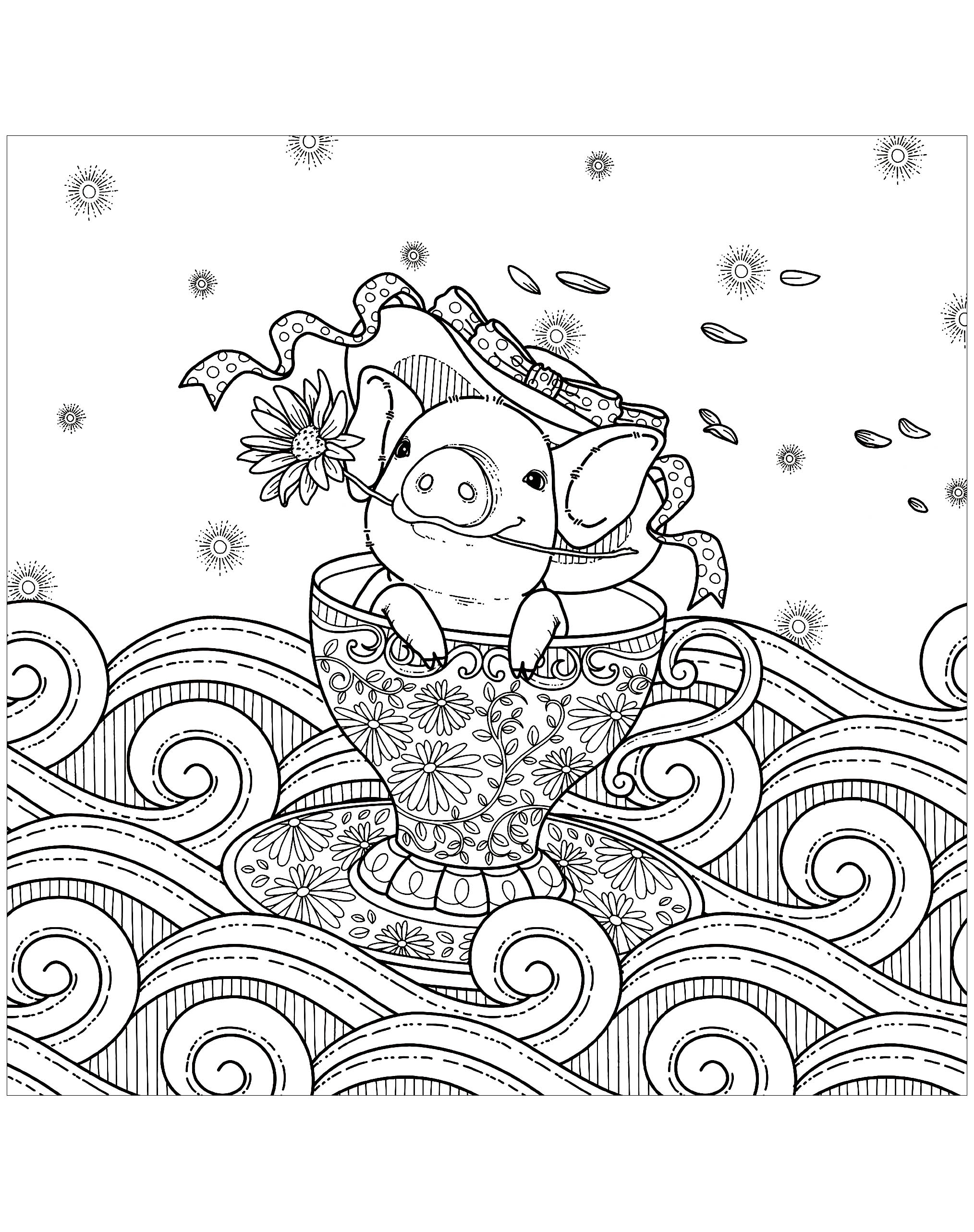 Pig in a cup Pigs Adult Coloring