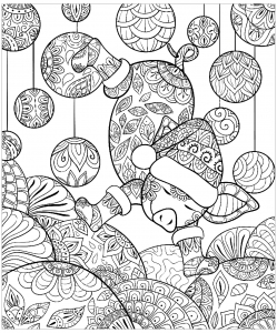 Coloring pig christmas zentangle