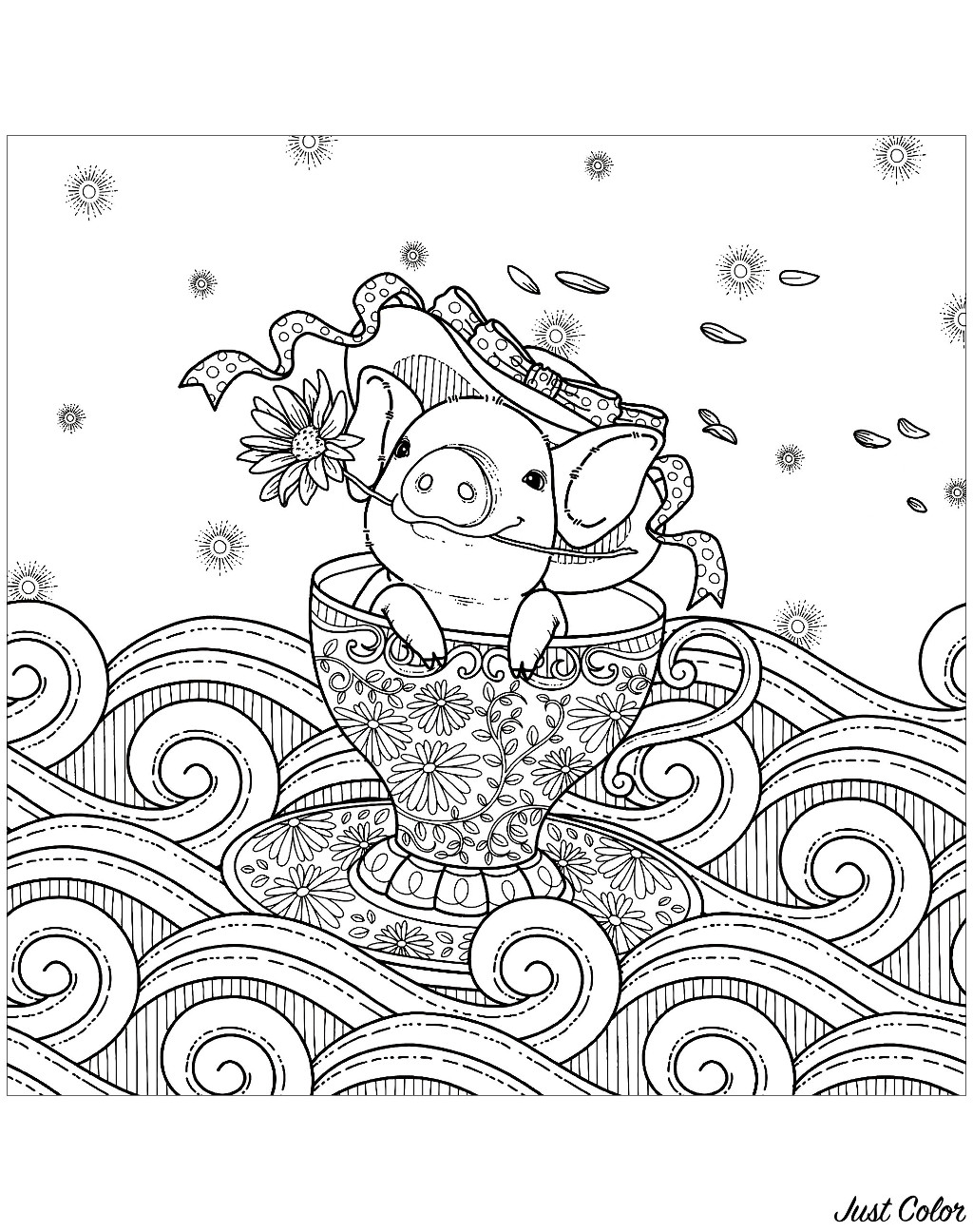 Pig In A Cup Pigs Adult Coloring Pages
