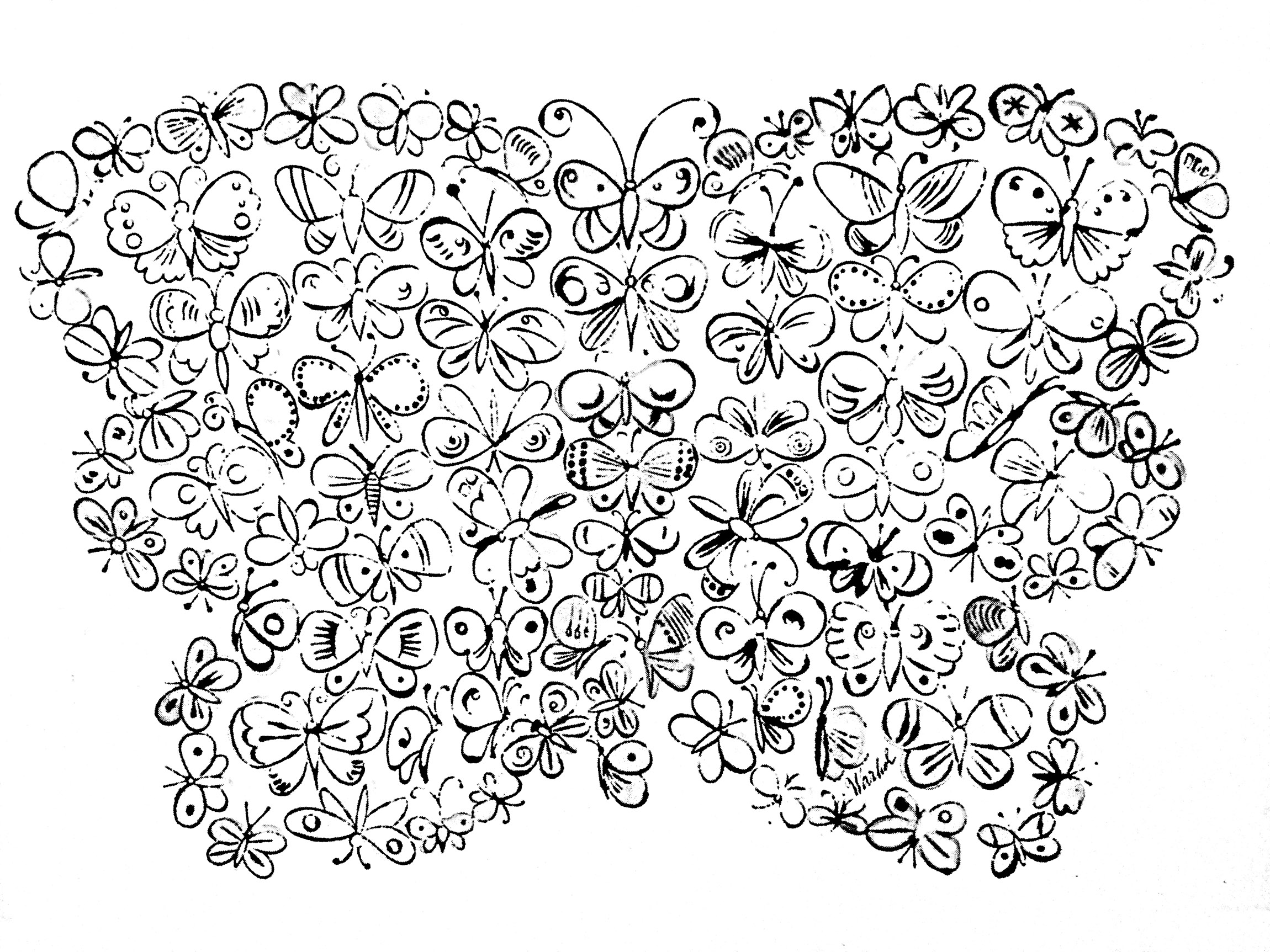 Coloring page inspired by a painting by Andy Warhol with butterflies