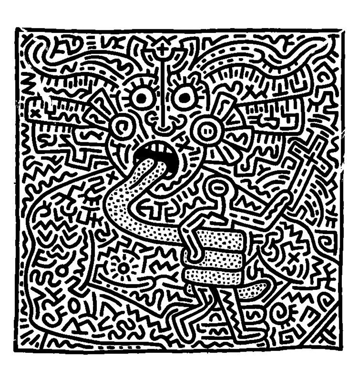 Coloring adult keith haring 1