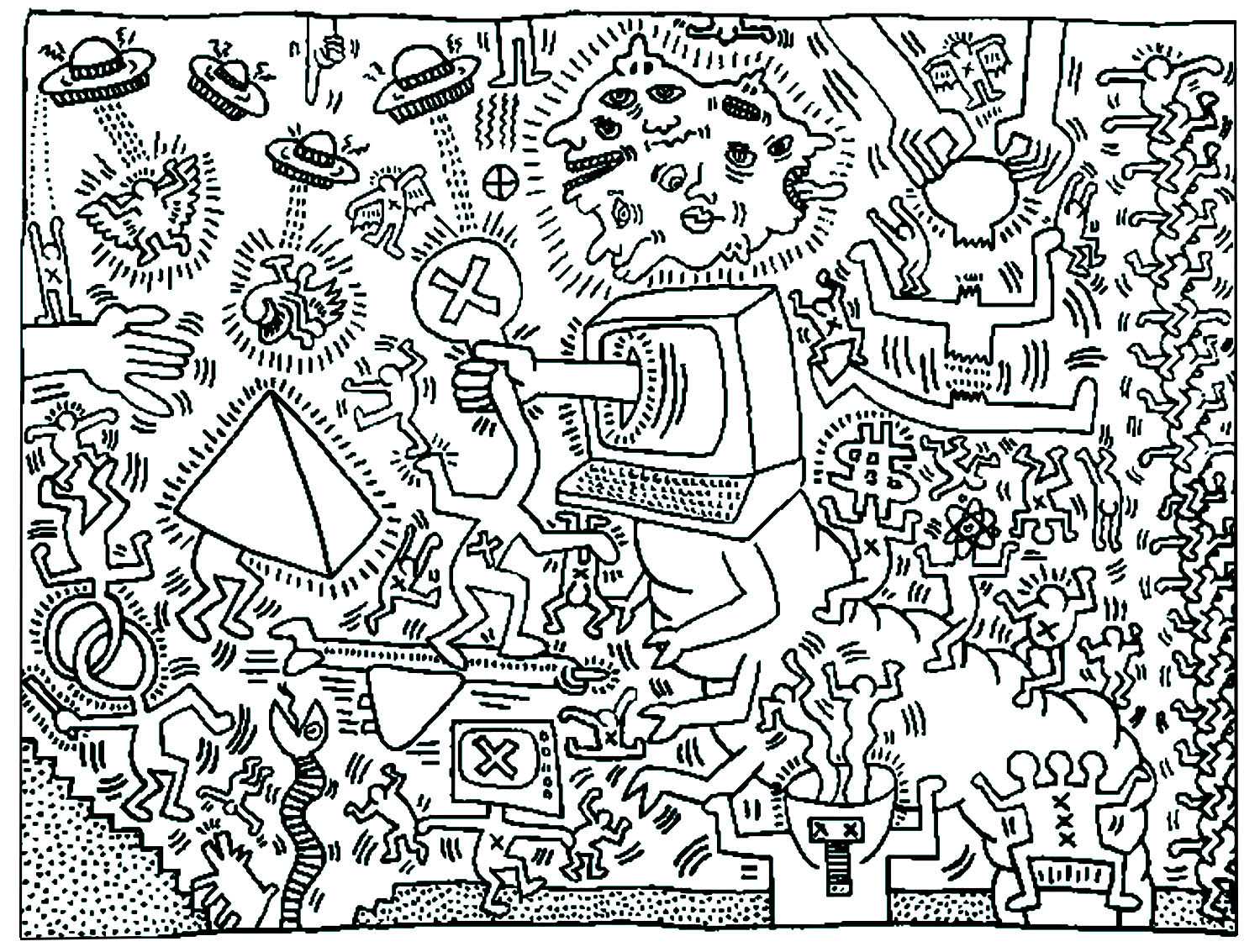 Keith haring 5 - Pop Art Adult Coloring Pages