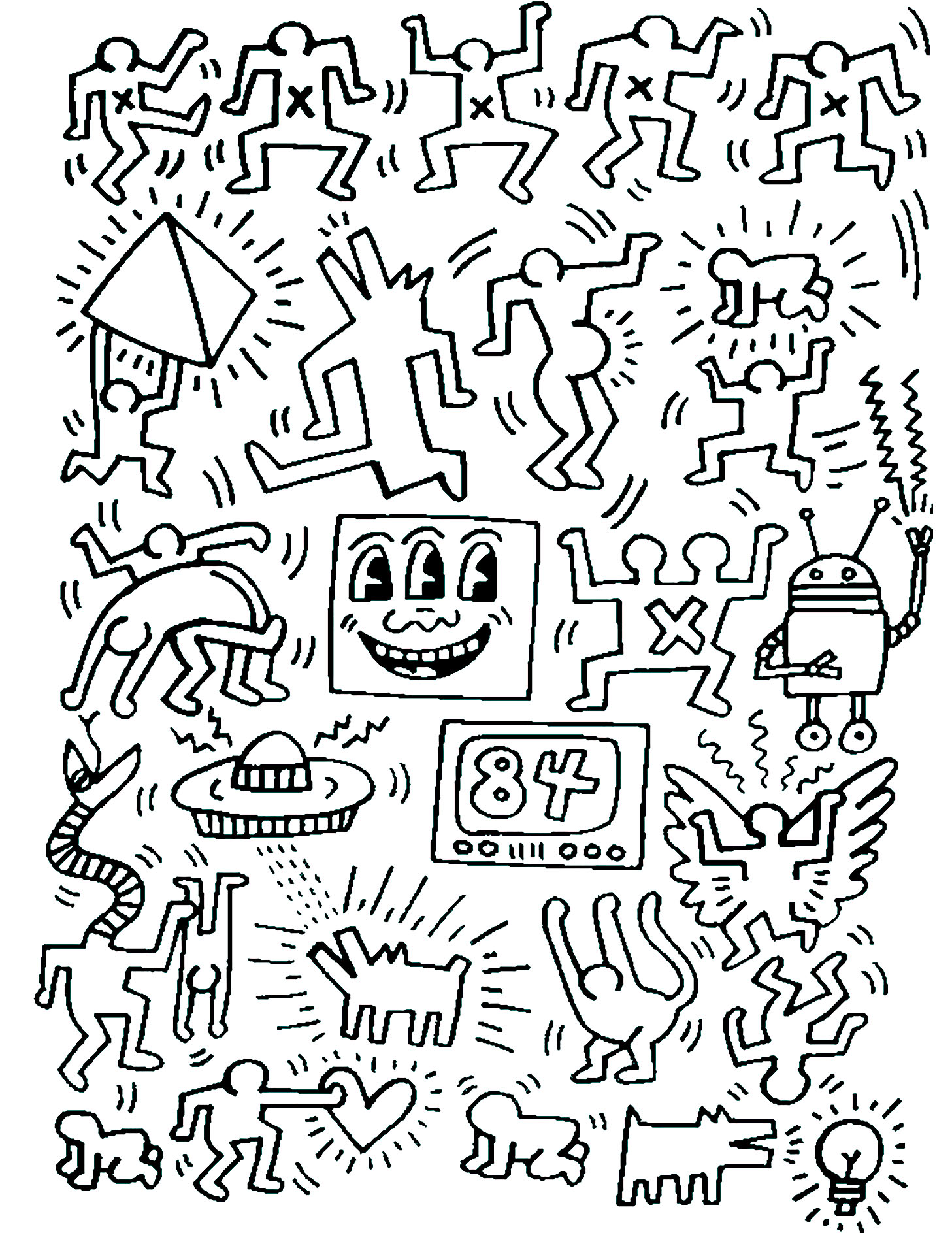 Keith haring 7 - Pop Art Adult Coloring Pages