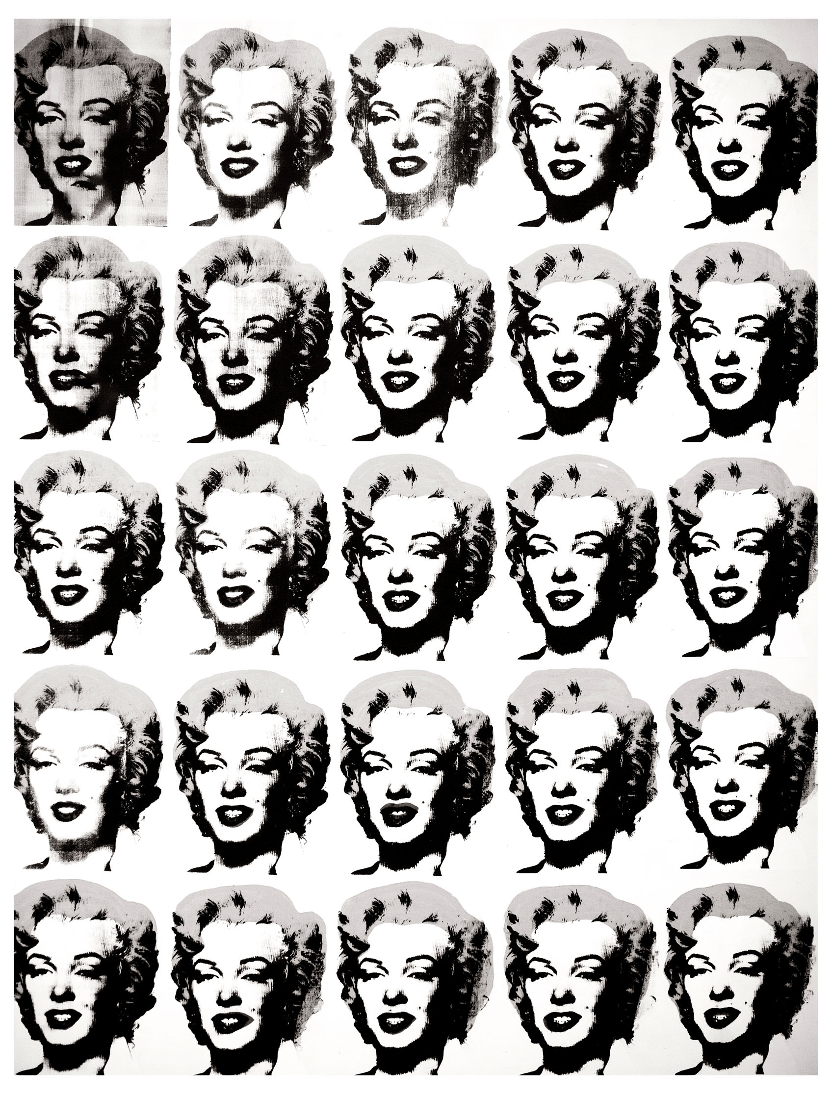 Coloring page created from a work by Pop Art artist Andy Warhol : Twenty-Five Colored Marilyns Revisited, Plate 19
