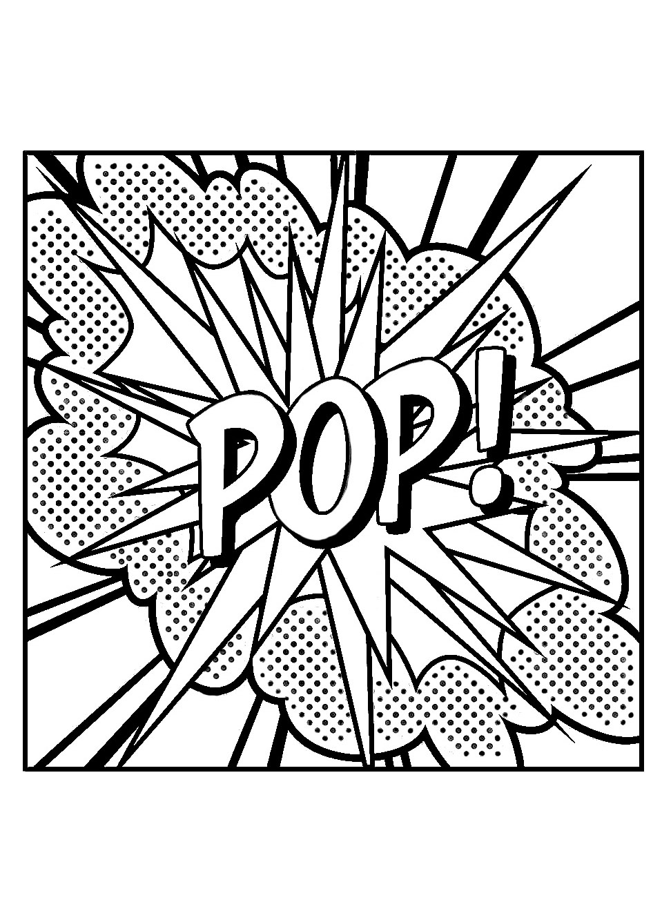 POP Coloring page, inspired by Roy Lichtenstein