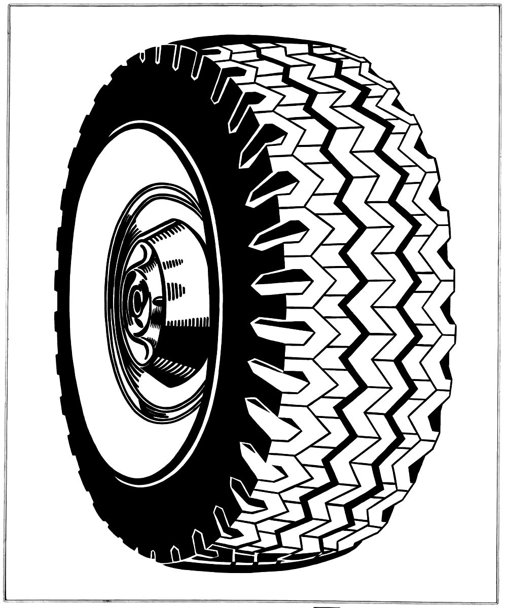 Drawing of a tire by Roy Lichtenstein, 1962