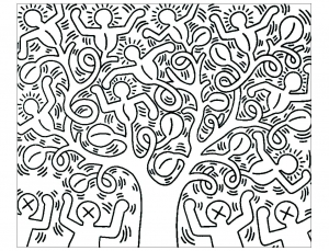 Coloring adult keith haring 6