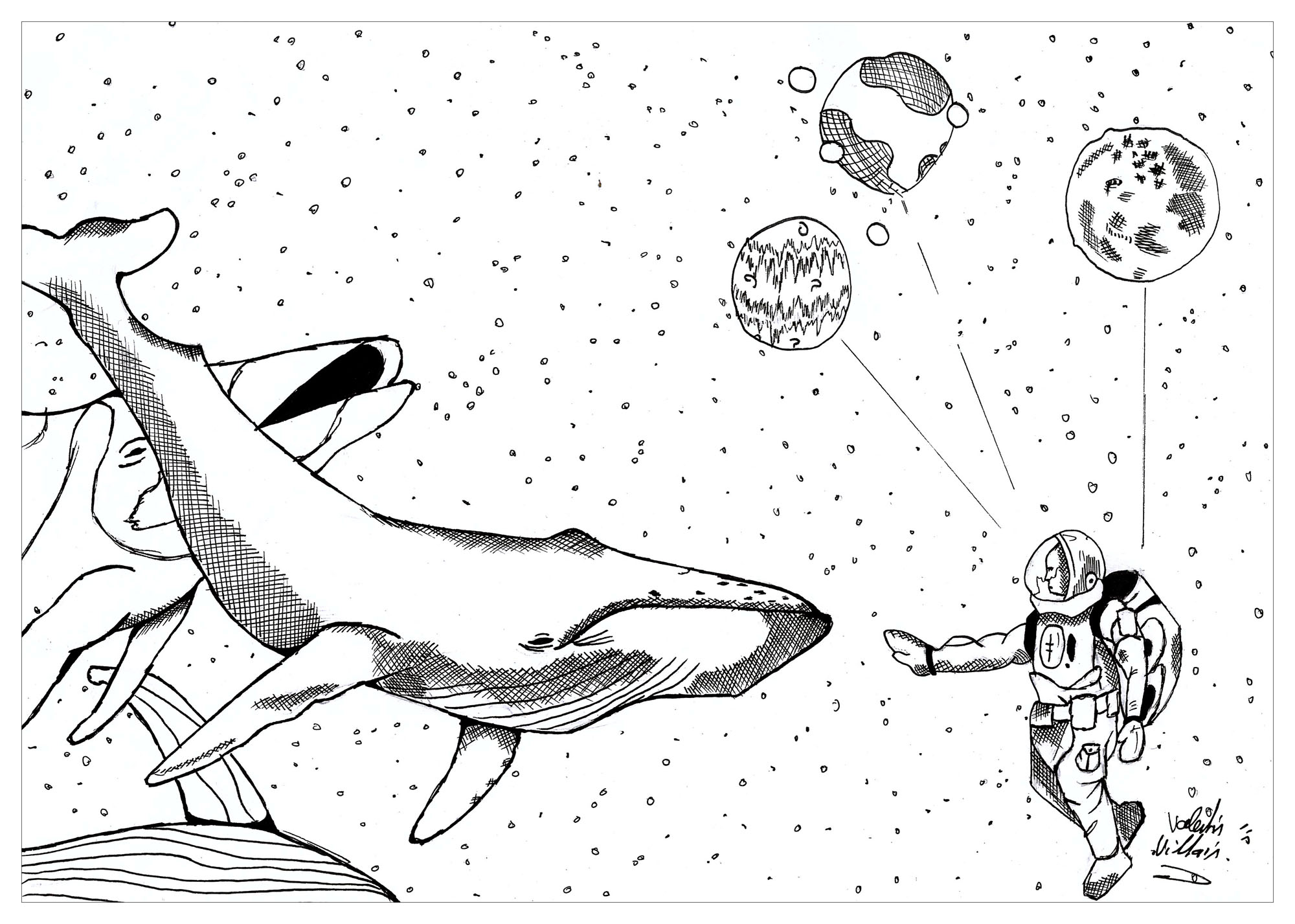 Coloring page of the aquatic cosmos