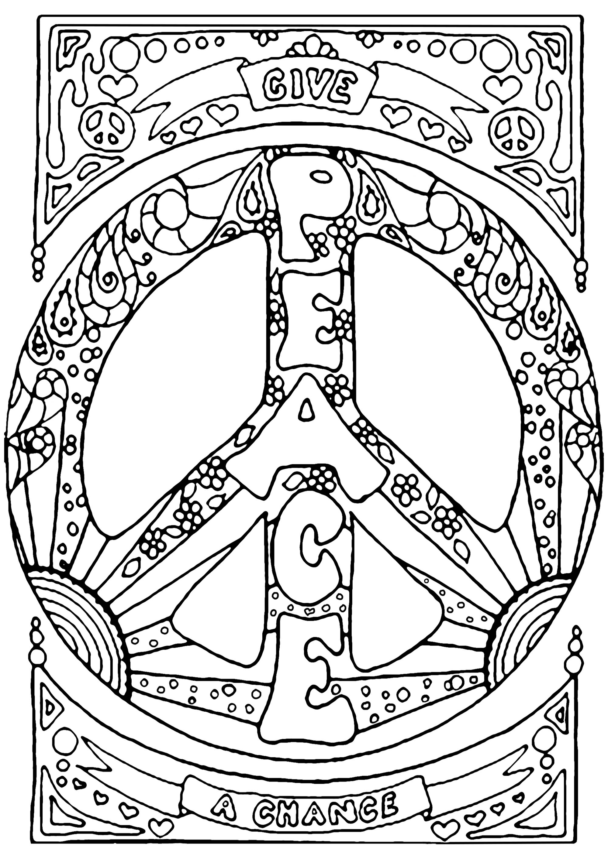 Give Peace a Chance is the first official song of John Lennon's solo career (1969).  It has become an anti-war anthem, and a universal message for peace and hope. Discover this mythical slogan through this beautiful coloring page !